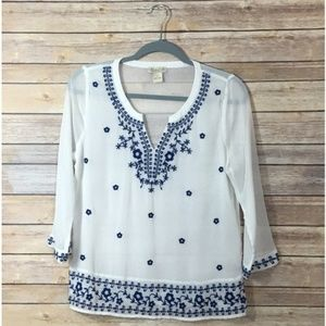 Lucky Brand Embroidered Boho Gauze Blouse - Small